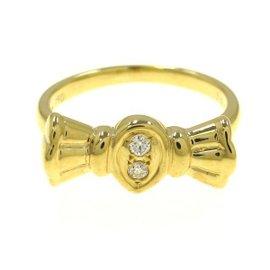 Christian Dior Ribbon 18k Yellow Gold Diamond Ring Size 4.25