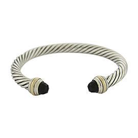 David Yurman 14K Yellow Gold & 925 Sterling Silver with Onyx Cuff Bracelet