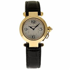 Cartier Pasha WJ11891G 18K Yellow Gold & Leather 32mm Womens Watch