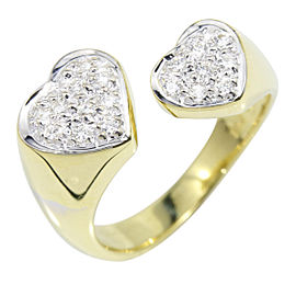 Ponte Vecchio 18K Yellow Gold and 0.11ct Diamond Heart Ring Size 3.25