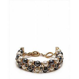 Louis Vuitton Gold Tone Hardware Faux Pearl Rhinestone Bracelet