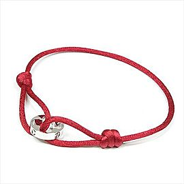 Louis Vuitton Clous 18k White Gold Red Cotton Cord Bracelet