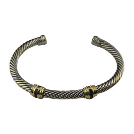 David Yurman 925 Sterling Silver & 14K Yellow Gold with Sapphire Cable Classics Double-Station Bracelet