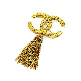 Chanel Vintage Gold-Tone Hardware Coco Mark CC Logo Fringe Pin Brooch