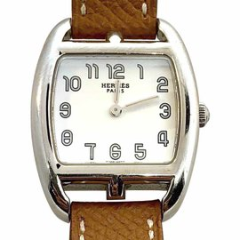 Hermes Cape Cod Tonneau Double Tour CT1.210 Stainless Steel & Leather 24mm Womens Watch