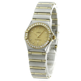 Omega Constellation 1267-10 18K Yellow Gold / Stainless Steel with Diamond Quartz 22mm Womens Watch