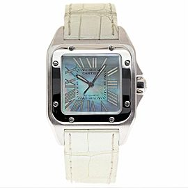 Cartier Santos 100 W20132X8 Stainless Steel / Leather 35.6mm Womens Watch