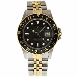Rolex GMT Master 16753 Stainless Steel & Yellow Gold with Black Dial Vintage 40mm Mens Watch