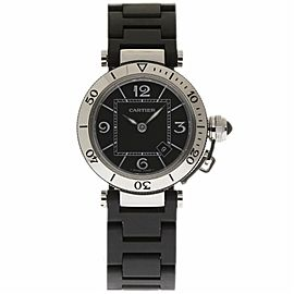 Cartier Pasha Seatimer W3140003 Stainless Steel / Rubber with Black Dial 33mm Unisex Watch