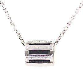 Chaumet Class 18k White Gold Rubber and One Diamond Necklace