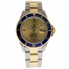 Rolex Submariner 16613 Stainless Steel and Yellow Gold with Serti Diamond Dial 40mm Mens Watch