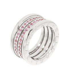 Bulgari B-zero 1 18K White Gold with Pink Tourmaline Band Ring Size 7.25