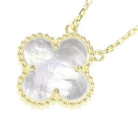 Van Cleef & Arpels 18K Yellow Gold Mother of Pearl Vintage Alhambra Necklace
