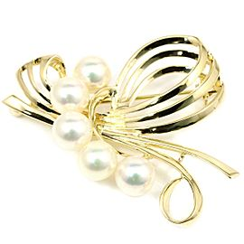 Mikimoto 14K Yellow Gold with Pearls Pin Brooch