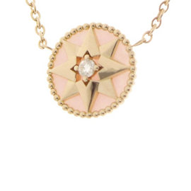 Christian Dior Rose des Vents 18K Rose Gold and 0.045ct. Diamond Pendant Necklace