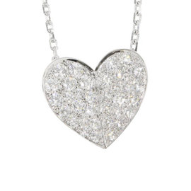 Van Cleef & Arpels 18K White Gold and Diamond Frivole Heart Pendant Necklace