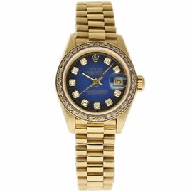 Rolex Datejust 69178 Yellow Gold with Blue Diamond Dial 26mm Womens Watch