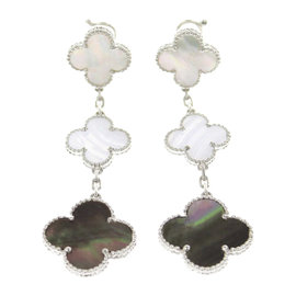 Van Cleef & Arpels Magic Alhambra 18K White Gold Pearl and Chalcedony Earrings