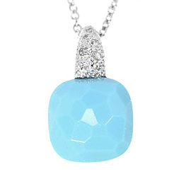 Pomellato 18K White Gold with Diamond and Turquoise Pendant Necklace