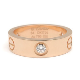 Cartier Love 3 Diamond 18K Rose Gold Ring Size 7