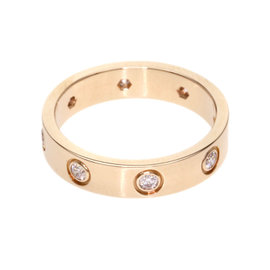 Cartier 18K Rose Gold 8 Diamond Mini Love Ring Size 4.75