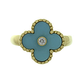 Van Cleef & Arpels Vintage Alhambra 0.05ct. Diamond and Turquoise 18K Yellow Gold Ring Size 6