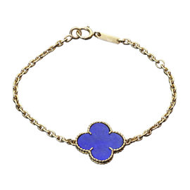 Van Cleef & Arpels Vintage Magic Alhambra Lapis Lazuli 18K Yellow Gold Bracelet