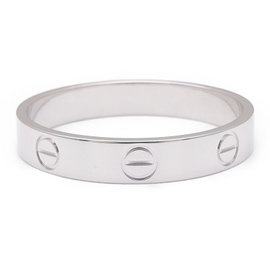 Cartier Mini Love 18K White Gold Ring Size 8.75