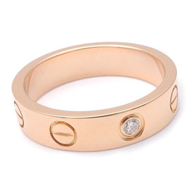 Cartier Mini Love 18K Rose Gold and 1P Diamond Ring Size 3.75