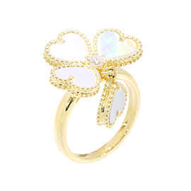 Van Cleef & Arpels Sweet Alhambra 18K Yellow Gold with 0.08ct Diamond Ring Size 4