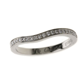 Cartier Ballerina Platinum and Diamond Wedding Band Ring Size 4.75