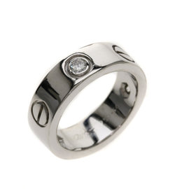 Cartier Love 18K White Gold with Diamond Ring Size 3.5