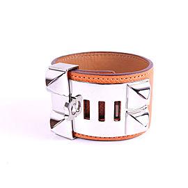 Hermes 925 Sterling Silver Leather Bangle Bracelet