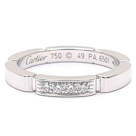 Cartier Maillon Panthere 18K White Gold with Diamond Band Ring Size 5