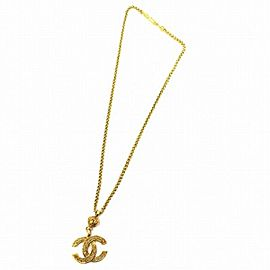 Chanel Gold Tone Hardware Coco Mark Necklace