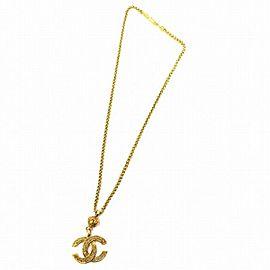 Chanel Gold Tone Hardware Coco Mark Necklace