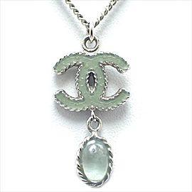 Chanel Silver Tone Hardware with Green Stone Coco Mark Pendant Necklace