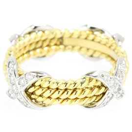 Tiffany & Co. 18K Yellow Gold and Platinum with 0.28ct Diamond Ring Size 6