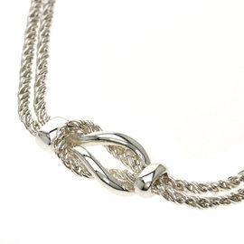 Tiffany & Co. 925 Sterling Silver Double Rope Center Knot Necklace