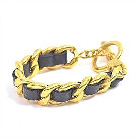 Chanel Gold Tone Hardware Leather Bracelet