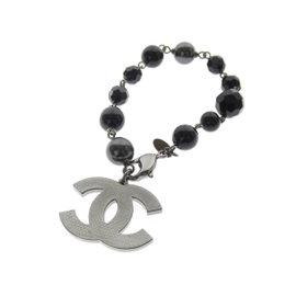 Chanel Coco Mark Silver Tone Hardware Bracelet