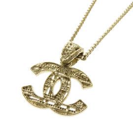 Chanel Coco Mark Gold Tone Hardware Pendant Necklace