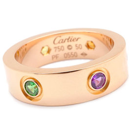 Cartier Love 18K Rose Gold with Multi Color Stone Ring Size 5.5