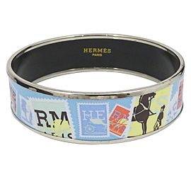 Hermes Cloisonne Silver Tone Hardware & Enamel Bangle Bracelet