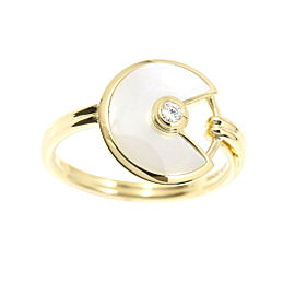 Cartier 18K Yellow Gold Mother of Pearl & Diamond Amulette de Ring 4.75