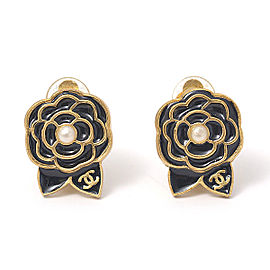 Chanel Brass with Glass Simulated Pearl Camellia Clip Earrings