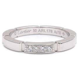 Cartier Maillon Panthère 750 White Gold with 4P Diamond Ring Size 5.5