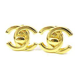 Chanel Gold Tone Hardware CC Logo Earrings