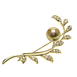 Mikimoto 18K Yellow Gold with Cultured Pearl and 1.04ct Diamond Brooch