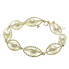Mikimoto 14K Yellow Gold with Cultured Pearl Bracelet